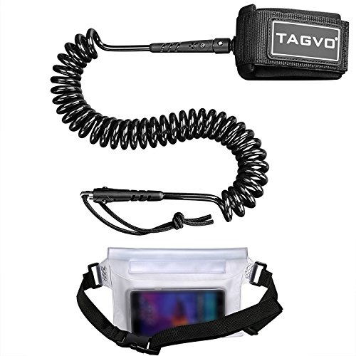 Tagvo SUP Leash 10ft 7mm Coiled with Waterproof Waist Pouch, Comfortable Padded Neoprene Ankle Cuff with Double Swivels Anti-rust Triple Rail Saver Lightweight Surfboard Leash by TAGVO