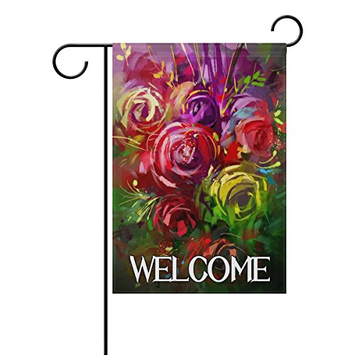 Welcome Retro Watercolor Flower Rose Polyester Garden Flag 12x18 Inches Double Sided Welcome Home House Polyester Banner Outdoor Patio Yard Garden Decorative ()