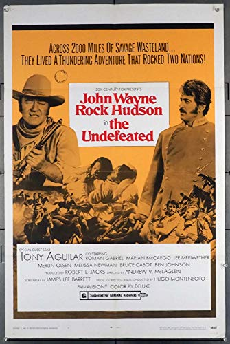 The Undefeated (1969) Original One-Sheet Movie Poster 27x41 Folded Fine Condition JOHN WAYNE ROCK HUDSON Film directed by ANDREW V. MCLAGLEN