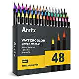 Arrtx Watercolor Markers, 48 Colors Real Brush Pens Water Based Watercolor Brush Pens with Flexible Brush Tips for Painting, Drawing, Coloring, Calligraphy, Manga and More