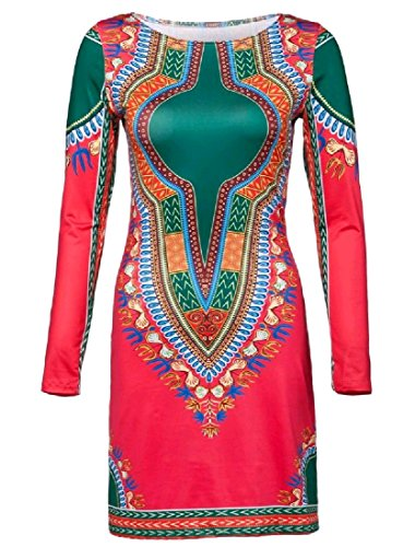 Manches Vogue Des Femmes Coolred O-long Cou Mince Dashiki Courte Robe Crayon 12