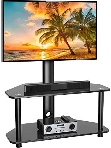 Swivel Floor TV Stand/Base for 32-55 Inch TVs-Universal Corner TV Stand Mount with Storage Perfect for Media-Height Adjustable Entertainment Stand with Tempered Glass&Cable Management, VESA 400x400mm