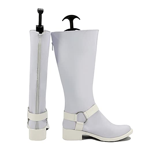 Amazon.com | Mens Cosplay Boots White PU Leather Shoes Game Costume ...