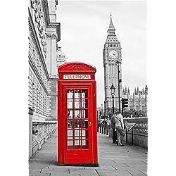 CSFOTO 3x5ft Background for Red Telephone Booth Big Ben Photography Backdrop Britain England London Fog Capital Famous Landmark Nostalgia Retro City Holiday Tour Studio Props Wallpaper
