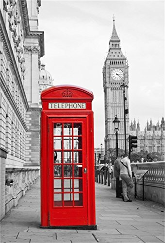 (CSFOTO 5x7ft Background for Red Telephone Booth Big Ben Photography Backdrop Britain England London Fog Capital Famous Landmark Nostalgia Retro City Holiday Tour Studio Props)
