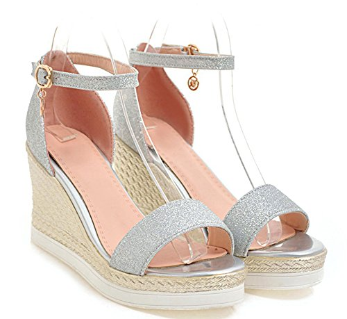 Ankle Heels Wedge High Strap with Platform Chic Aisun Silver Women's Sequins Sandals Eqfqna