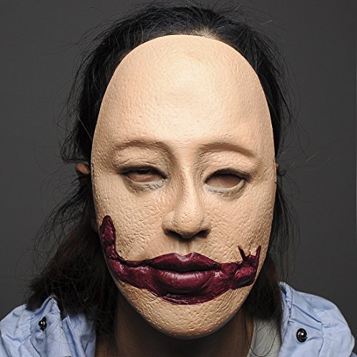 YUFENG Scary Female Halloween Masks Creepy Bloody Mouth Latex Halloween Costume Party Horror Mask (Halloween Full Movie Michael Myers 2017)