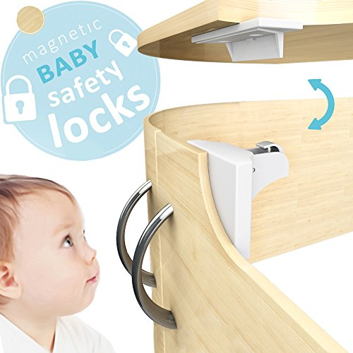 Child Proof Cabinet Locks By Dr.Safety 8 Magnetic Child Lock and 2 Keys, 2 Key Bases,32 Optional Screws, For Cabinets, Drawers, Cupboards. Strong Adhesive Latch Installation, Drill-Free, Baby Proofing