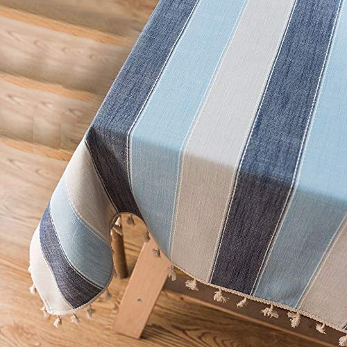 - RXIN Dustproof Tablecloth Rectangular Striped Tassel Stitching Table Cloth Dining Tabletop Decoration