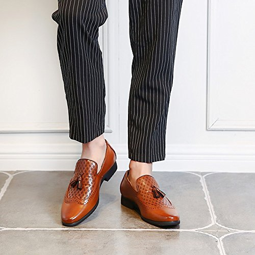 per Scarpe impreziosita on shoes da Jiuyue Oxfords pelle Pelle uomo Marrone Slip uomo 39 Scarpe sintetica Nero Color Uomo 2018 EU da in d'affari Dimensione signori traspirante Cuoio TOOwZqHxn