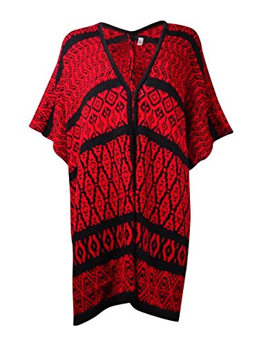 - NY Collection Women's Intarsia Knit Poncho Cardigan (L/XL, Red/Black)