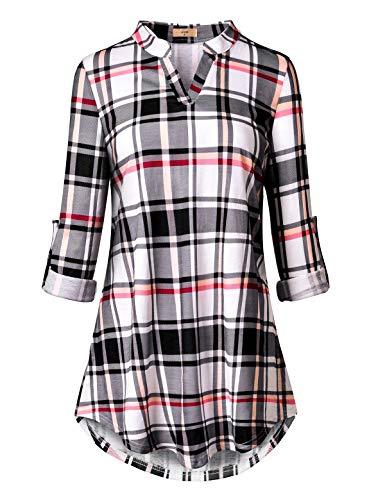 Luranee Plaid Tunic, Women's Buffalo Checkered Shirts Fall Juniors Tops Mandarin Collar Elegant Cuffed Sleeve Work Blouses Flattering Fancy Classy Vintage Peasant Winter Clothes Beige White Size 14