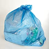 Green Core 70% PCW Recycled Blue Recycling Bags - 50 Gallon (Case of 100)