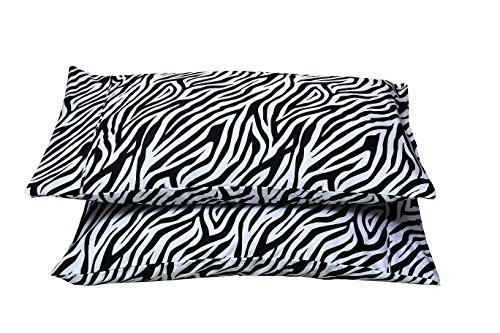 (Rajlinen 100% Egyptian Cotton 1 Pair Pillow Case Soft Smooth & Long Staple 300-Thread-Count Standard/Queen Size Zebra Print)