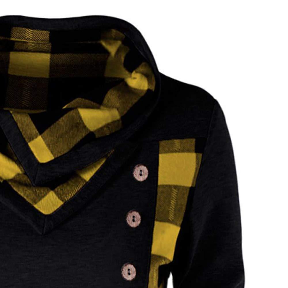 Yvelands Moda Mujer botón de Cuello Abotonado a Cuadros Patchwork Sudadera Blusa Superior: Amazon.es: Ropa y accesorios