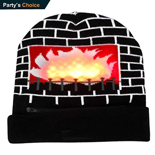 Ultra Bright LED Hat, Battery Powered Colorful Lighted Up Fireplace Pattern Knitted Beanie Hat, Novelty Funny Christmas Party Gift -