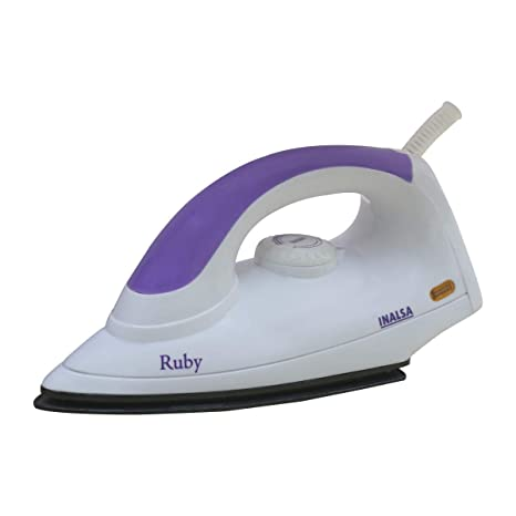 b2b1576c539 Buy Inalsa Ruby 1000-Watt Dry Iron with Non-Stick Coated Soleplate (White  and Purple) Online at Low Prices in India - Amazon.in