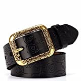 SAIBANGZI Ms Women All Seasons Needle Buckle Belt Fine Leather Simple Fashion Decoration Belt Girlfriend Present Black 94-100Cm