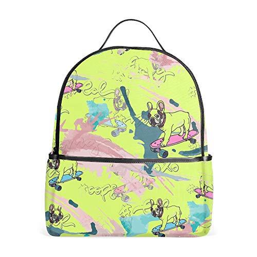 Laptop Backpacks French Bulldog On Skateboard Girls Women Travel Daypack Bag