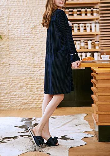 Camicia notte Dark Donna Puluo Lunga Manica Blue da f4Wqv