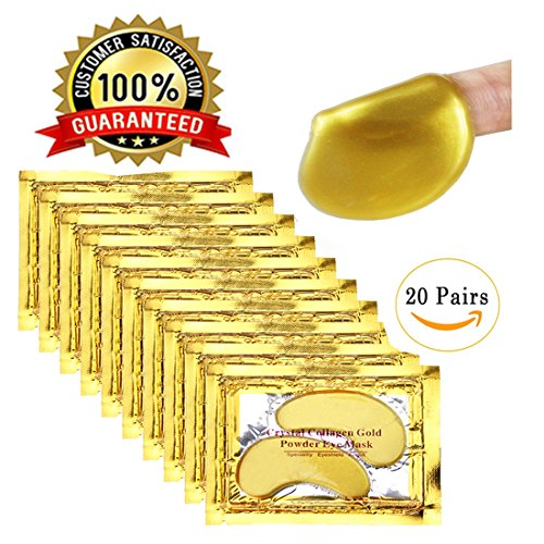 24K Gold Powder Eye Mask, Eye Patch Pack, Smooth Chill Feeling, 100% Collagen Under Eye Pads, Anti Aging, Remove Bags, Eliminates Dark Circles and Fine Lines, Under Eye Mask for (Spa Gift Pack)