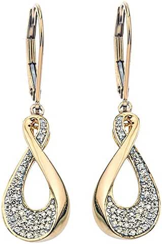 Diamond Drop Earrings in 10k Yellow Gold with Lever back (0.18 carats)