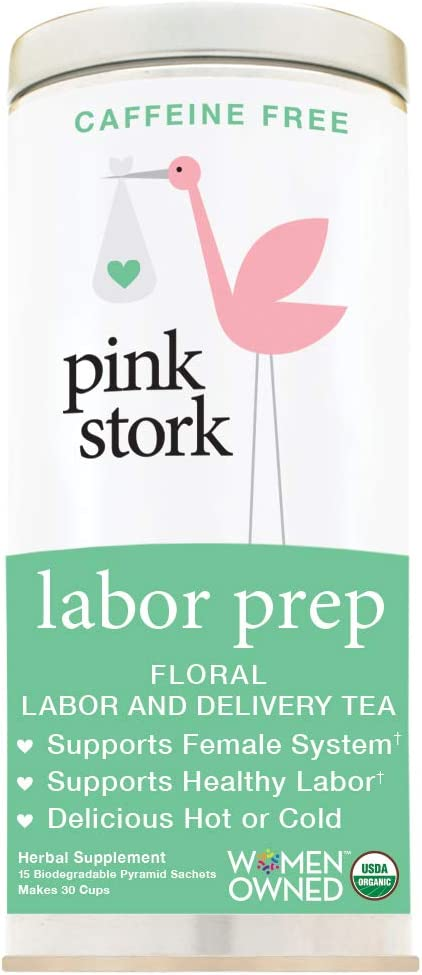 Pink Stork Labor Prep: Unsweetened Floral Red Raspberry Pregnancy Tea, 30 Cups, USDA Organic Loose Leaf Herbs in Biodegradable Sachets