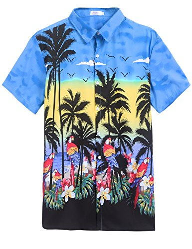 Border Hawaiian Aloha Shirts (Halife Men's Parrots Beach Border Hawaiian Shirt Blue,M)