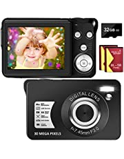 $46 » Digital Camera 30MP Camera 1080P Compact Camera 2.7 inch Pocket Camera,8X Digital Zoom Rechargeable Small Digital Cameras for Kids, Students, Teens,Beginners with 32GB SD Card and 2 Batteries