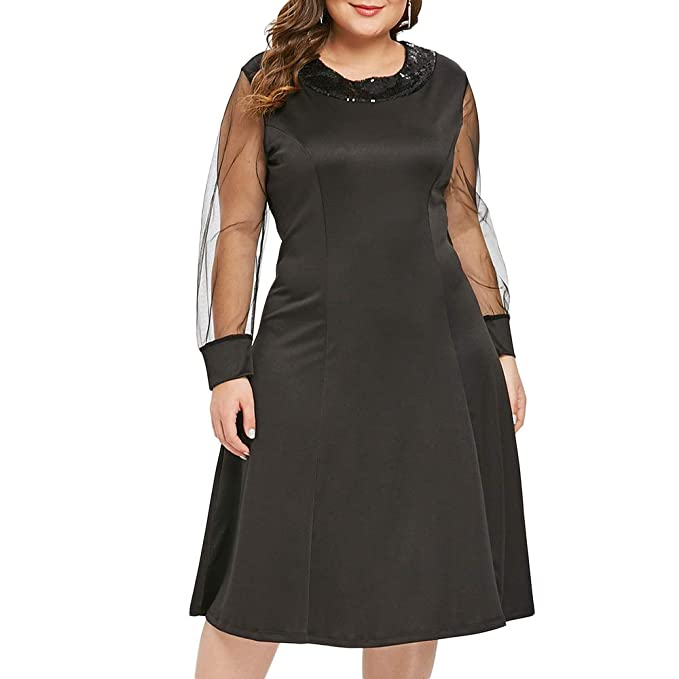 7ac948b6990 Image Unavailable. Image not available for. Color  EbuyChX Plus Size Sequin  Embellished A Line Dress Black 2X