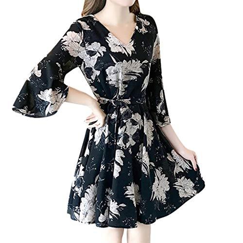 - Women's V Neck Floral Print Swing Mini Dress 3/4 Sleeve Casual T Shirt Dresses Summer Beach Dress with Belt (XXL, Black)