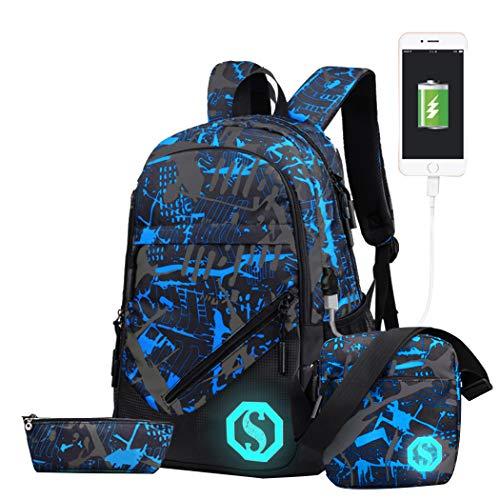 JiaYou Boy Girl Unisex 20L Fashion School Bag Backpack with Florescent Mark 3 Sets/2 Sets (20L, USB ColorG 3 Sets) ()