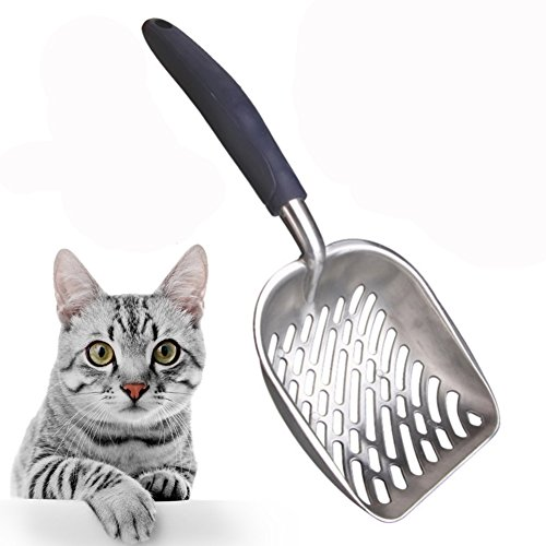H&ZT Large Cat Litter Scoop,Solid Aluminum Alloy Cat Scooper Sifter Deep Shovel with Flexible Long Handle (Blue)