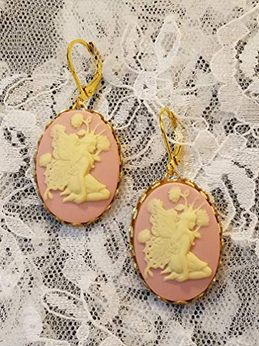 (Pink and Ivory Fairy Cameo Lever-back Earrings Resin Goldtone)