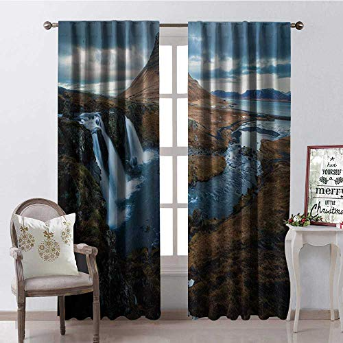 - Hengshu Mounta River Waterfall Scenery Thermal Insulating Blackout Curtain Blackout Draperies for Bedroom W84 x L108