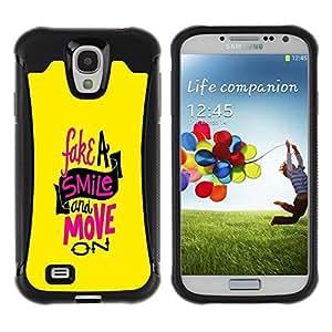 Suave TPU GEL Carcasa Funda Silicona Blando Estuche Caso de protección (para) Samsung Galaxy S4 IV I9500 / CECELL Phone case / / Fake Smile Move On Quote Motivational /