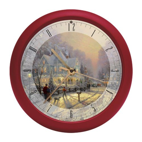 Thomas Kinkade Christmas Carol Holiday Gathering Musical Clock