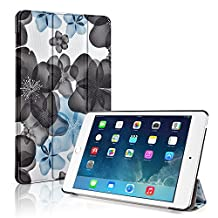 TNP iPad Mini 4 Case (Floral Blue) - Ultra Slim Lightweight Folio Smart Cover Stand with Auto Sleep Wake Feature and Hard Rubberized Back for Apple iPad Mini 4 7.9 Inch Tablet 2015 Release