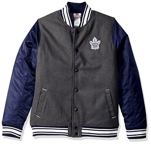 Satin Wool Coat - Outerstuff NHL Toronto Maple Leafs Youth Boys Letterman Varsity Jacket, Charcoal Grey, X-Large(18)
