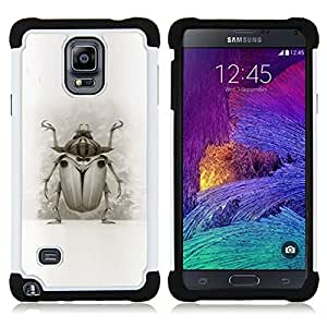 BullDog Case - FOR/Samsung Galaxy Note 4 SM-N910 N910 / - / BUG BEETLE DRAWING WINGS NATURE LEGS ART /- H??brido Heavy Duty caja del tel??fono protector din??mico - silicona suave