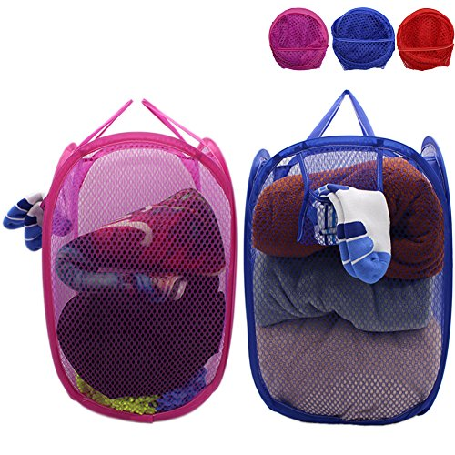 Mesh Pop-Up Set of 2 Laundry Hamper with Side Pocket and Handles -Clothes Hamper Perfect for Kids (Blue and Red/Rose Red) by Free Walker