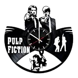 Pulp Fiction Vinyl Records Wall Clock - Legendary Film Original Present For Movie's Fans - Wall Art Room Decor Handmade Decoration Party Supplies Theme Birthday Gift - Vintage And Modern Style