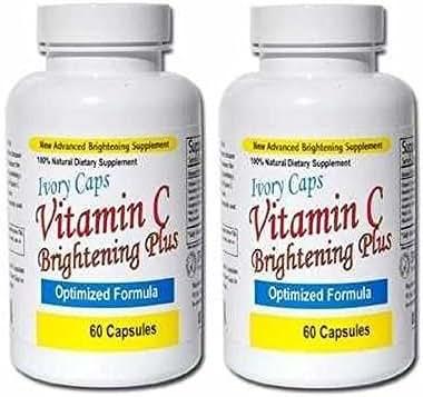 IvoryCaps Ivory Caps Vitamin C Skin Brightening Plus Skin Whitening Lightening Pills (pack of 2) 100% Natural , no side affects