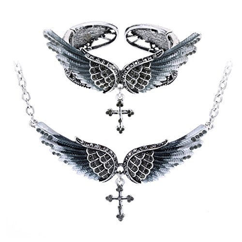 Szxc Jewelry Women's Crystal Angel Wings Cross Pendant Necklace Bangle Bracelet Biker Jewelry Sets
