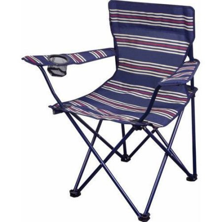 OZARK Trail Youth Folding Chair for All Outdoor Activities Blue w/Stripes ()