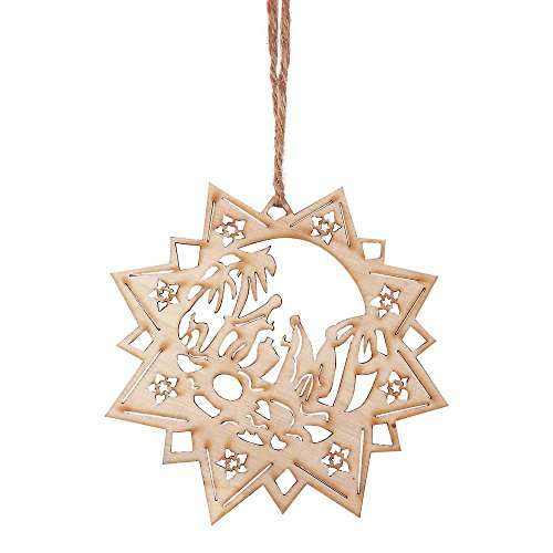 Holy Family Within Poinsettia Star Natural 4 x 4 Wood Christmas Nativity Ornament