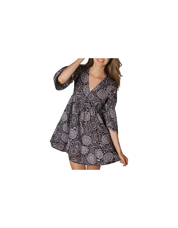 Aller Simplement - Loose-fitting tunic cotton 3/4 sleeve adjustable link under chest V-neck just go TU8045C