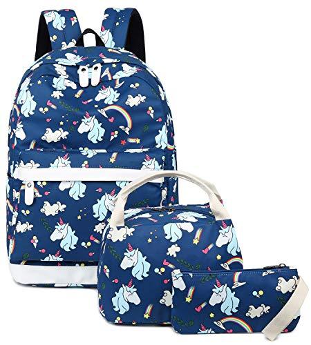 Teen Girls School Backpack Kids Bookbag Set with Lunch Bag School Laptop Bags Casual Daypack (E0030-Navy Blue)