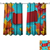 DragonBui Customized Curtains Autumn Thankgiving Holiday Wallpaper Tie Up Shades Rod Blackout Curtains