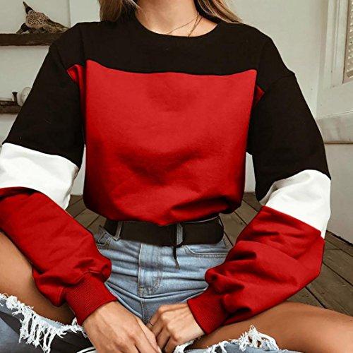 Taille Vêtements Sweatshirt Femmes Blouse Adeshop Bandage Chic Rouge Et Automne Mode Sweat Grande Manches Pull Rond Printemps Slim Col Tops Couleur Splicing Longues 1nw64qwA